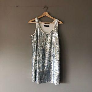 Club Monaco sequin silver shift dress xs